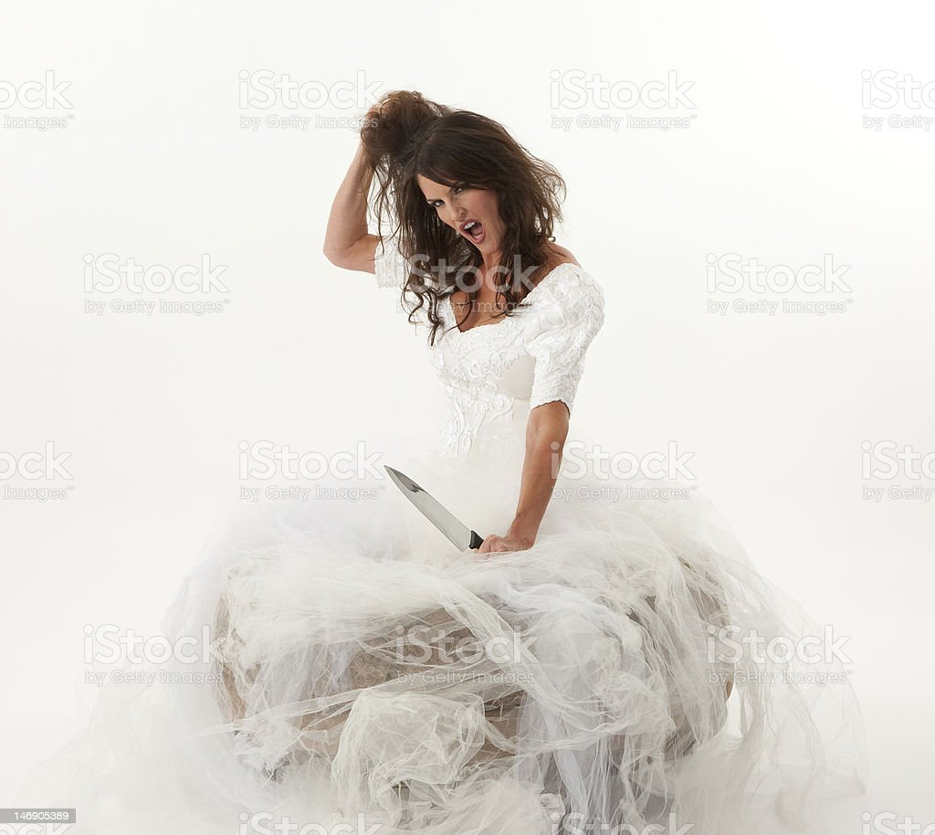 Crazy Bride Bridezilla stock photo