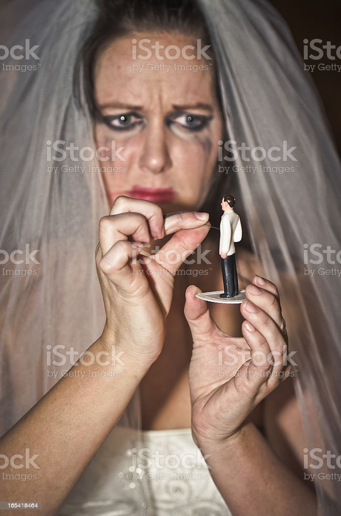 Crazy Bride Casting A Spell On Her Unfortunate Future Husband stock photo