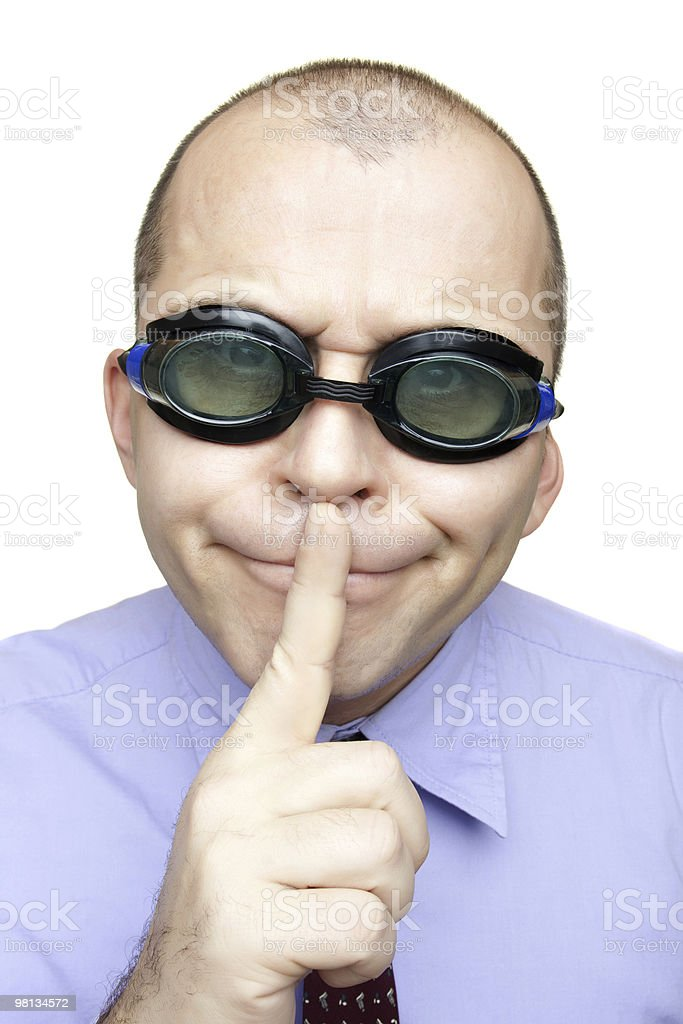 Crazy businessman with swimming goggles royalty-free stock photo