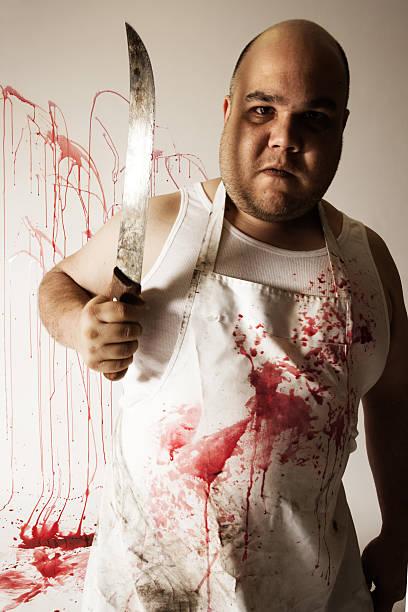 crazy butcher mit einem großen messer - glatze schneiden stock-fotos und bilder