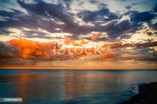 Dramatic sunset clouds or north shore Duluth Minnesota