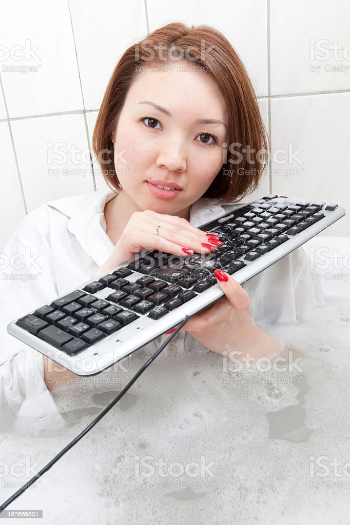 Crazy Computer Cleaner royalty-free stock photo
