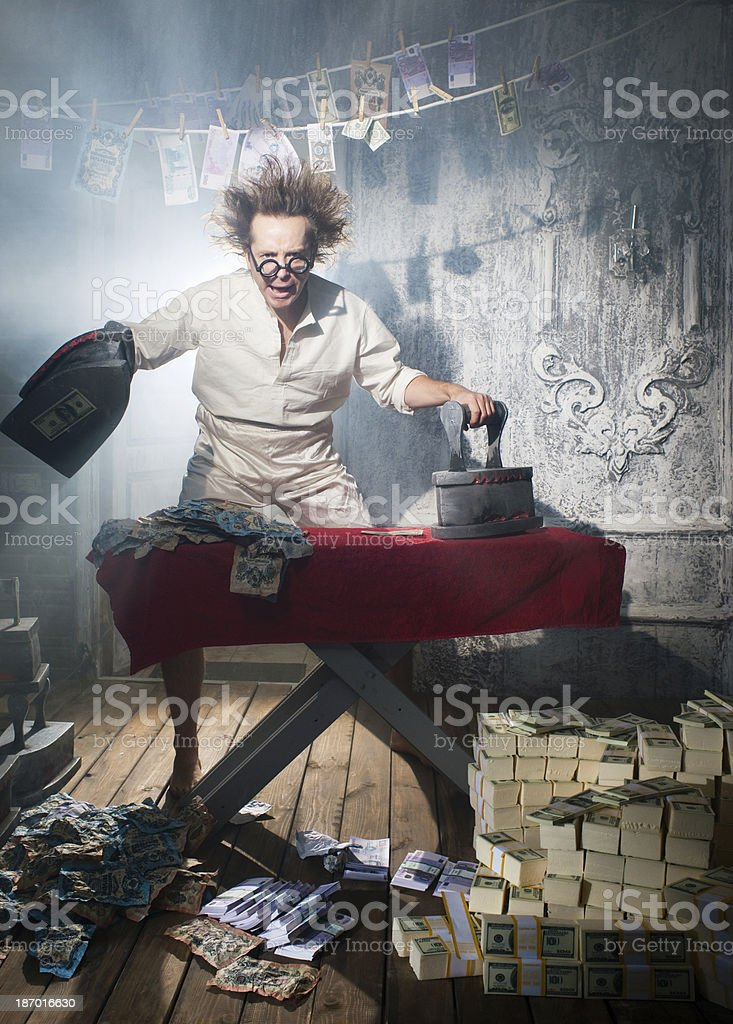 Crazy counterfeiter stock photo