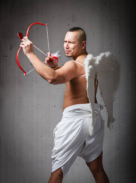 Crazy Cupid aiming with bow