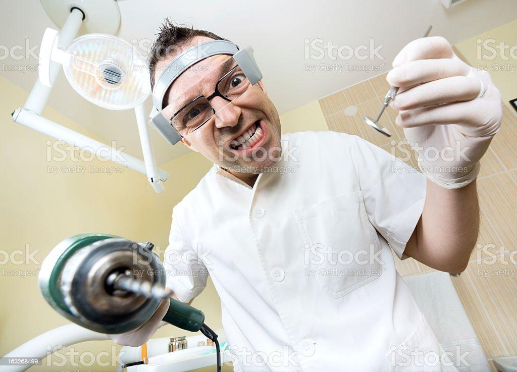 crazy dentist stock photo