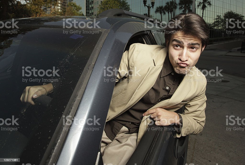 Crazy driver stock photo