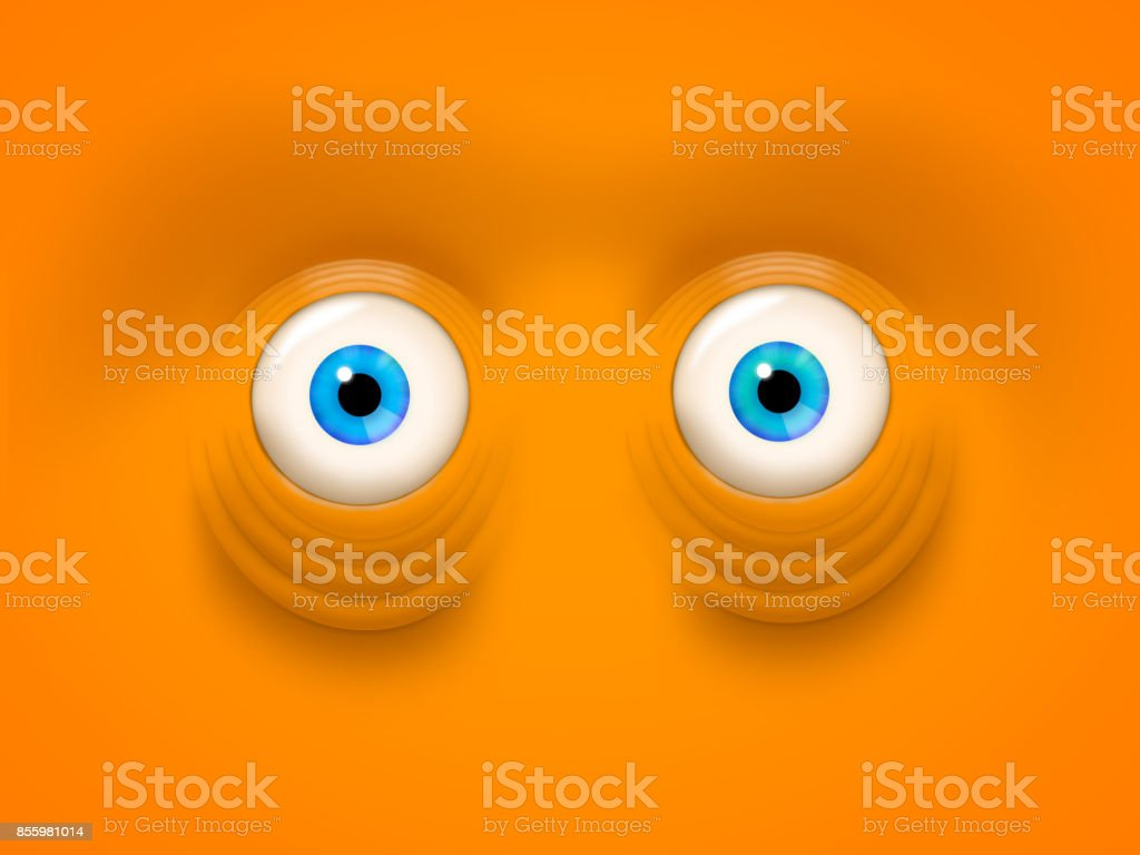 Crazy eyed stare illustration - wild blue eyes in an orange face stock photo
