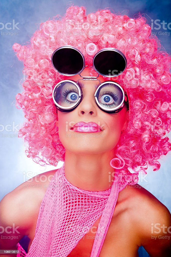 Crazy funky pink girl stock photo