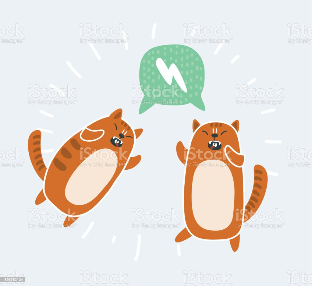 Crazy funny cat vector seamless pattern stock photo