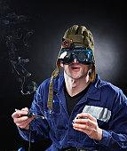 istock Crazy genious witth soldering iron 120515109