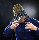 istock Crazy genious witth soldering iron 120515113