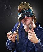 istock Crazy genious witth soldering iron 120515131