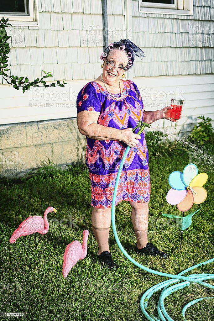 Crazy Granny Watering the Lawn stock photo