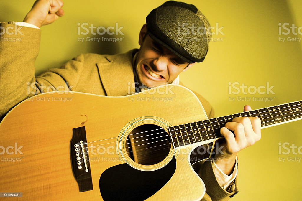 Crazy Gitarre Player Lizenzfreies stock-foto
