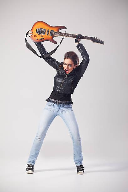 crazy guitarist - broken guitar stock photos and pictures