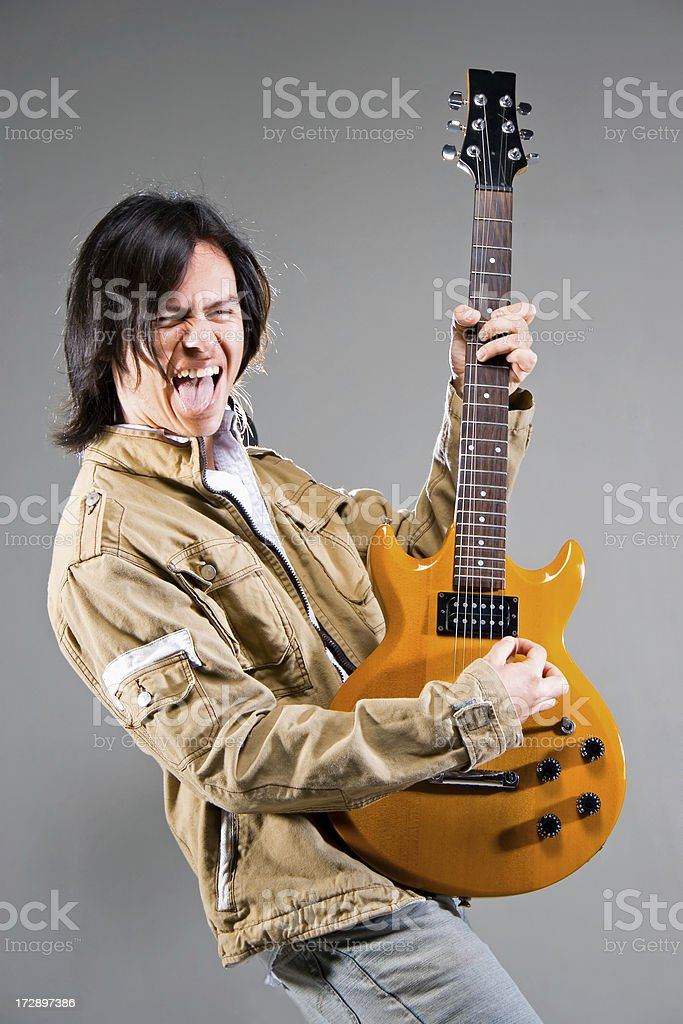 Crazy guitarrist royalty-free stock photo