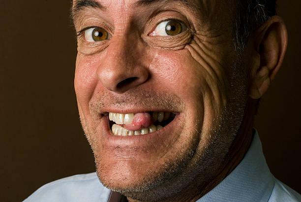 crazy mann portrait - zahnlücke stock-fotos und bilder