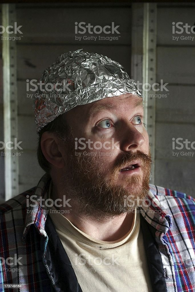 Crazy Guy In A Tin Foil Hat stock photo