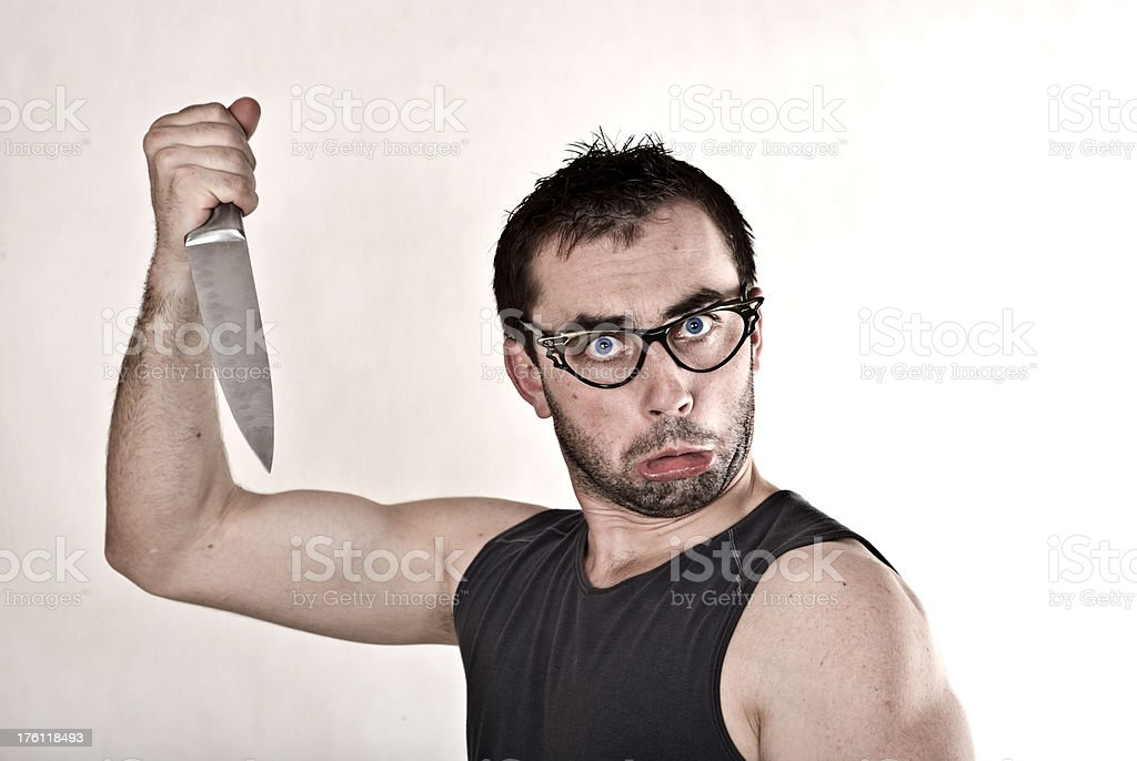 Crazy guy with knife royalty-free stock photo