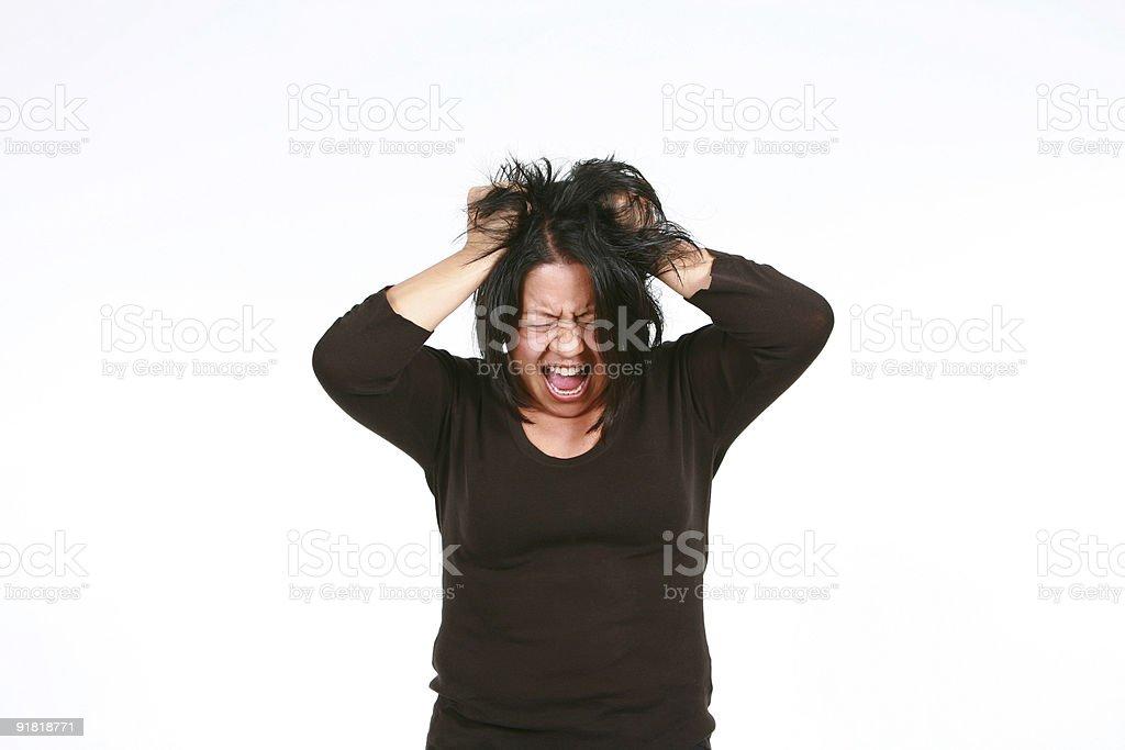crazy hispanic woman stock photo