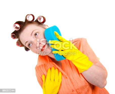 Crazy Housewife Maid Cleaner With Sponge Stock Photo & More Pictures of Adult