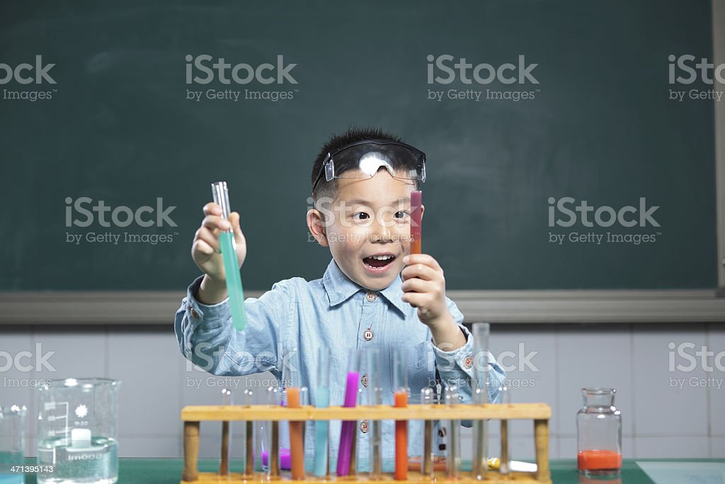 crazy little scientist royalty-free stock photo