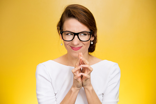 Crazy Looking Sly Woman In Black Glasses Stock Photo - Download Image Now
