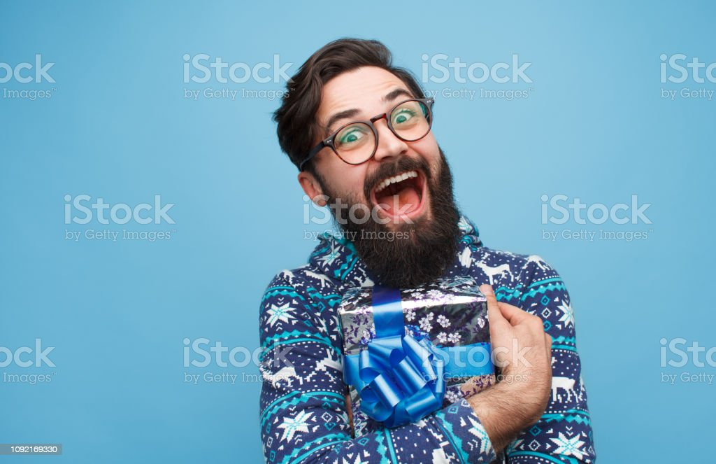 Crazy man happy with present - Foto stock royalty-free di Adulto