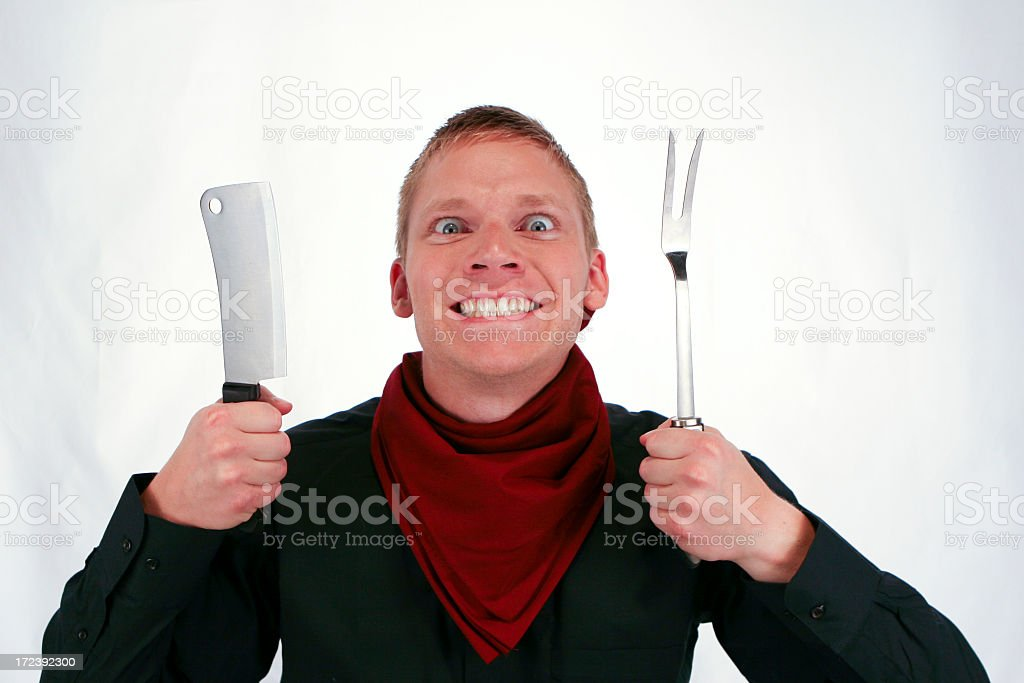 Crazy man wants to eat NOW! royalty-free stock photo