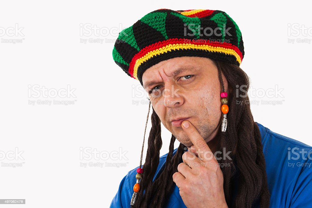 Crazy man with dreadlocks wig-isolated stock photo