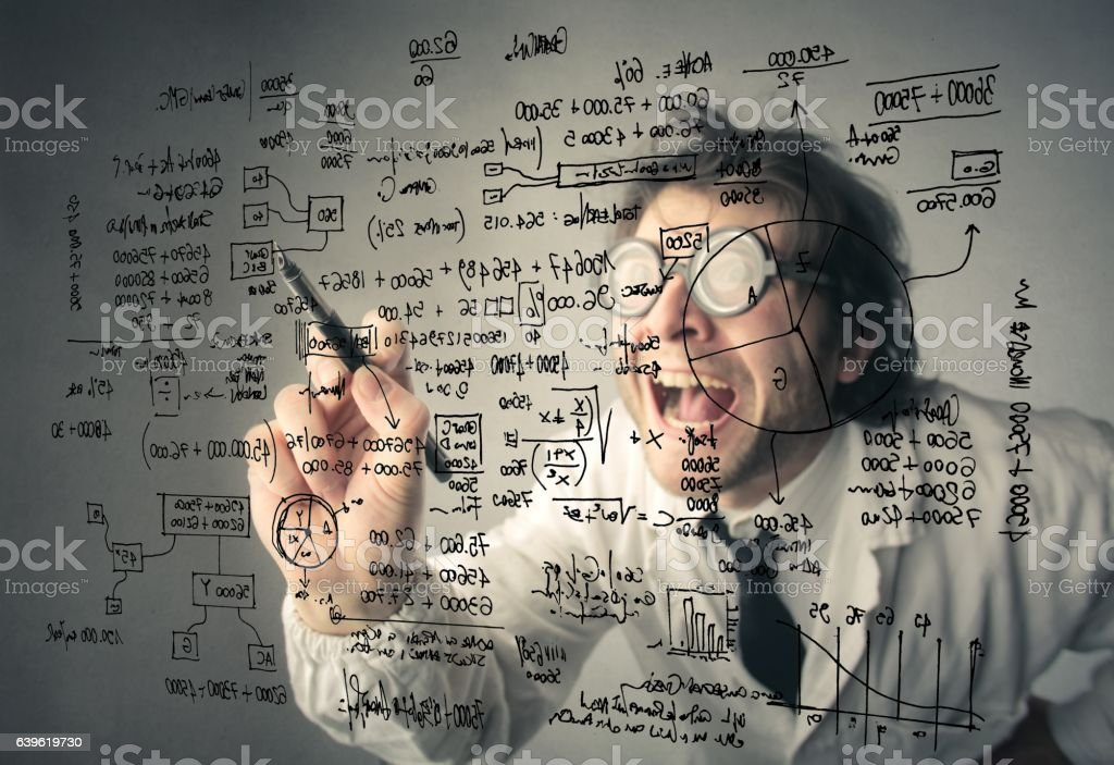 Crazy mathematician stock photo