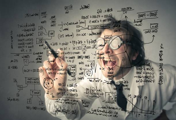 crazy mathematician - math class stock photos and pictures