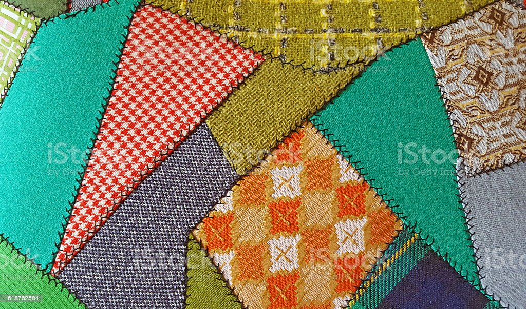 crazy patchwork quilt pattern stock photo