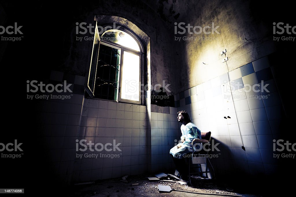 Crazy patient in Wheelchair stock photo