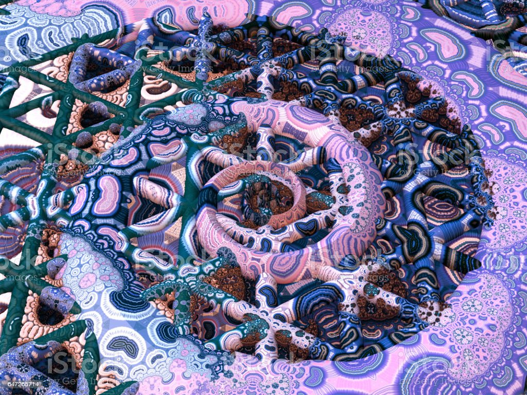 Crazy pattern pink blue 3D fractal spiral on triangle grid stock photo