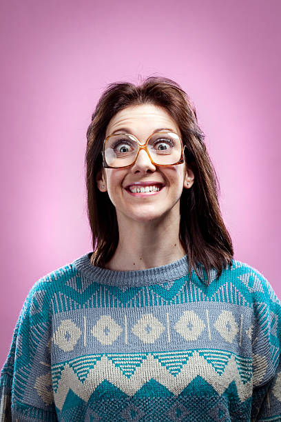 crazy pink 1980s girl and sweater - 1980s style stock photos and pictures