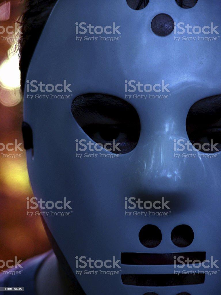 Crazy Psycho Hockey Mask Guy stock photo