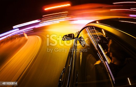 157590217 istock photo Crazy ride on the night by car 481830814