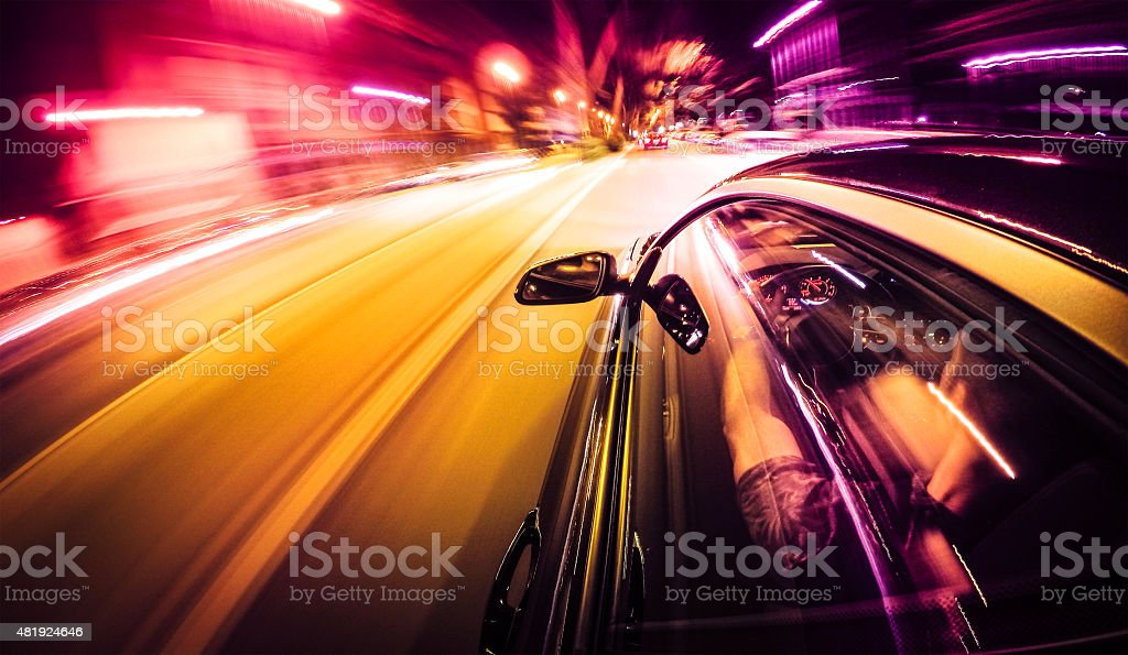 Crazy ride on the night by car Crazy ride on the night by car 2015 Stock Photo
