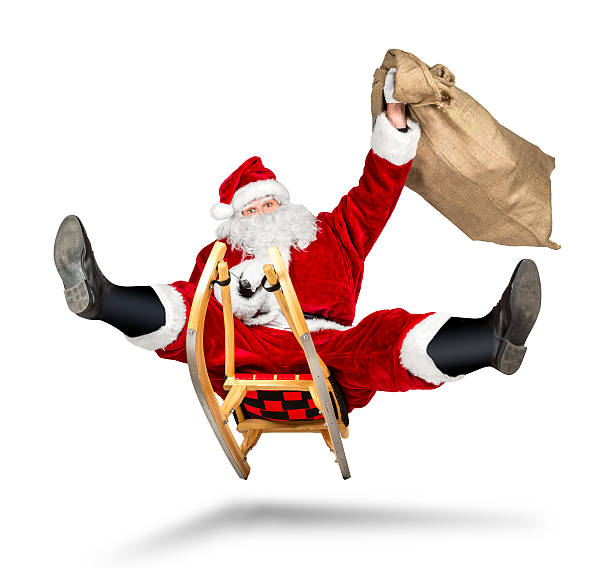 crazy santa claus sleigh funny crazy christmas gift  delivery crazy santa claus on his sleigh hilarious fast funny crazy xmas christmas gift present delivery isolated white background sleigh stock pictures, royalty-free photos & images