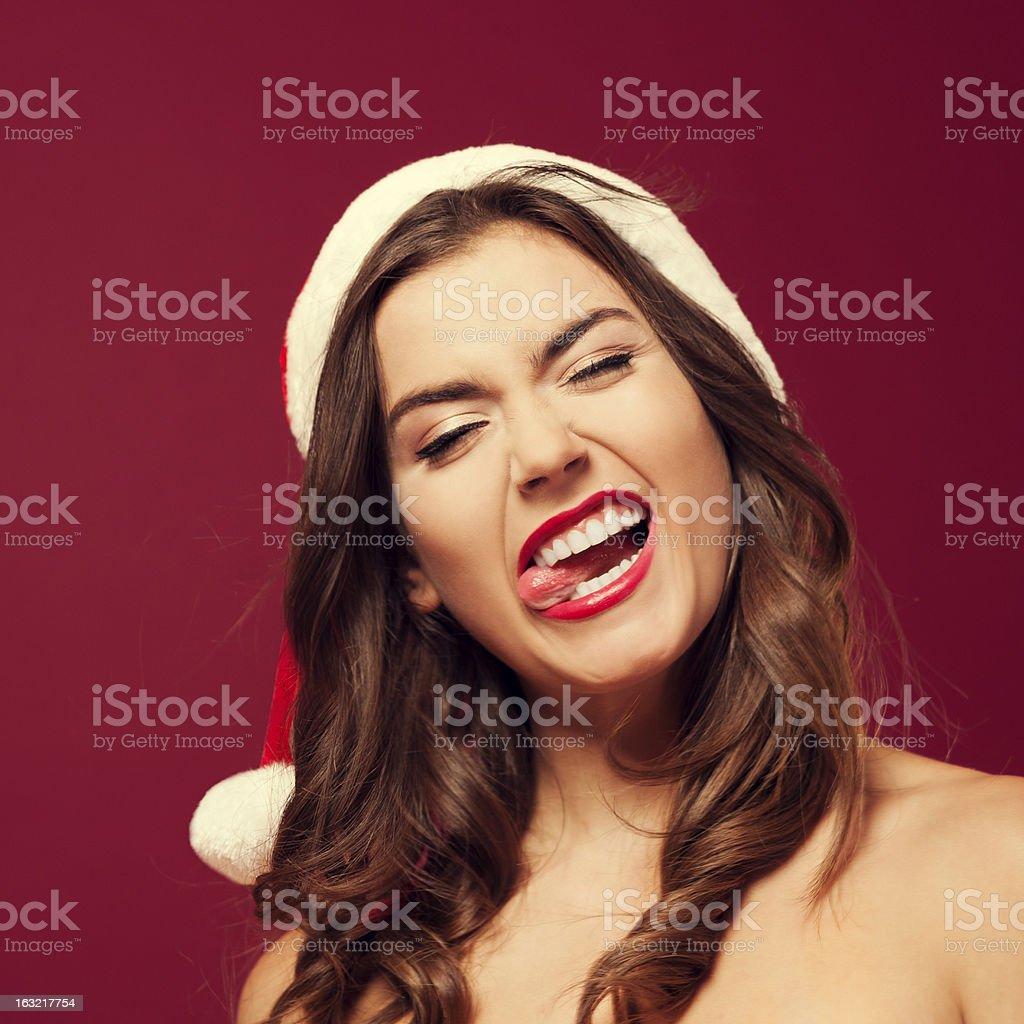 Crazy santa woman royalty-free stock photo