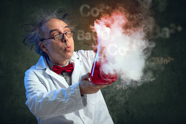 Crazy scientist at laboratory stock photo