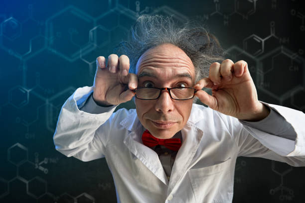 crazy scientist with glasses stock photo