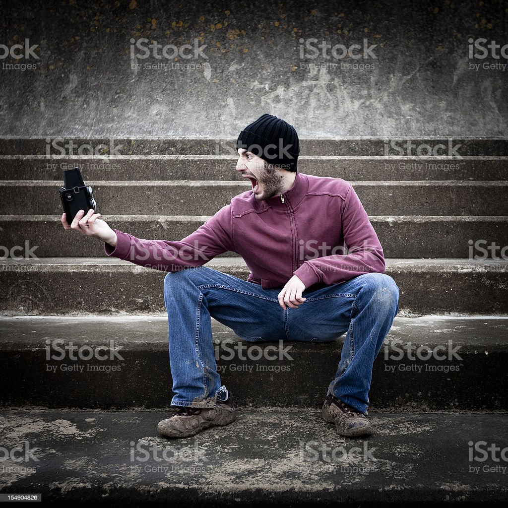 Crazy self portrait royalty-free stock photo
