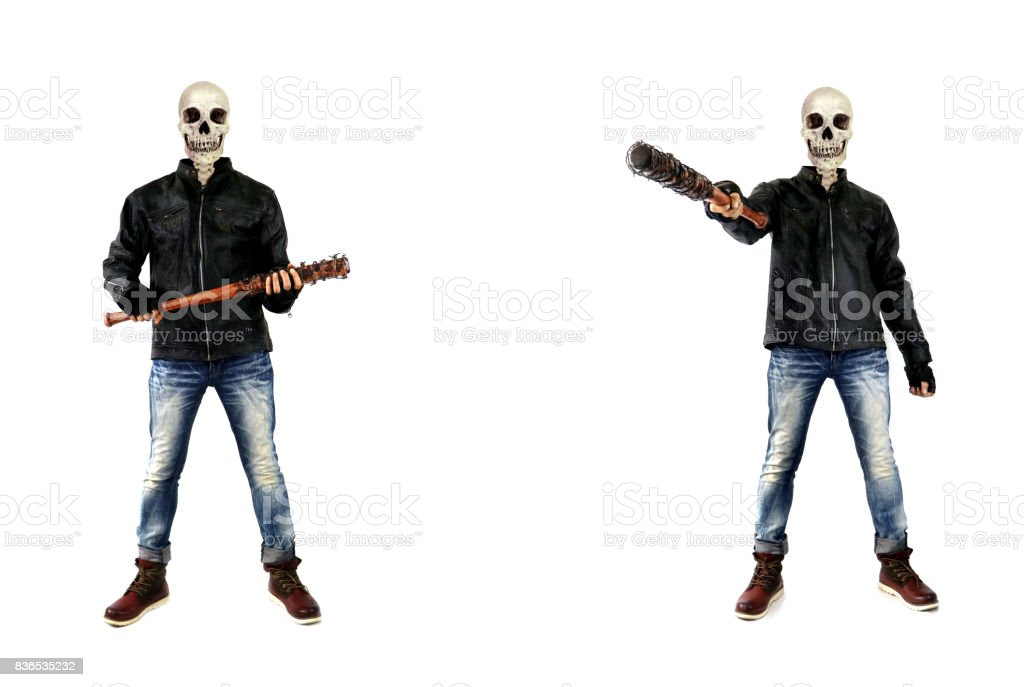 Crazy Skull Killer Zombie With Barbed Wire Baseball Bat On