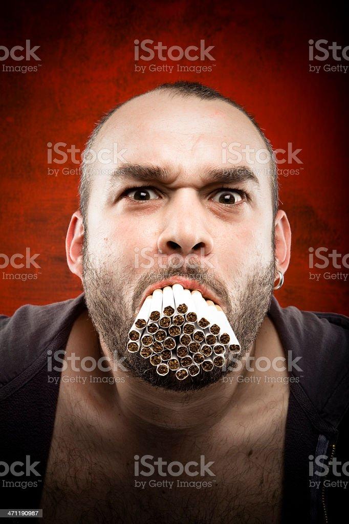 crazy smoker royalty-free stock photo