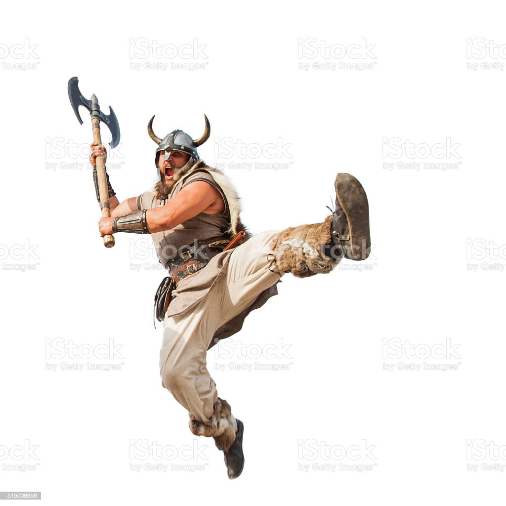 crazy strong viking isolated on white background. stock photo