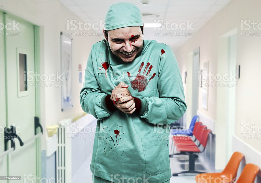 Crazy surgeon stock photo