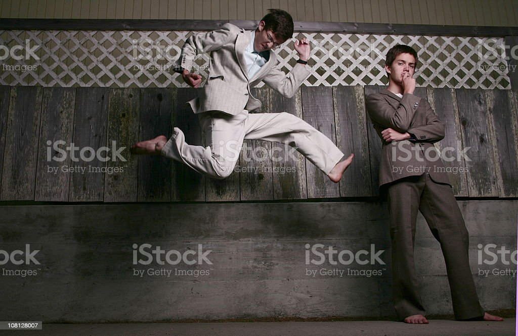 Crazy vintage Businessman stock photo