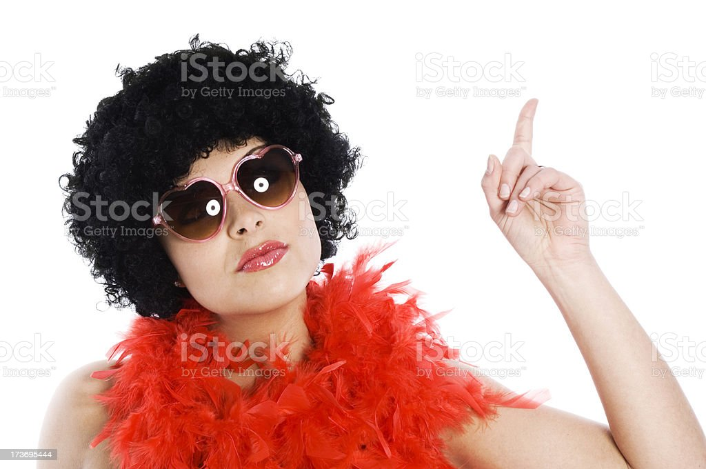 Crazy woman with afro royalty-free stock photo